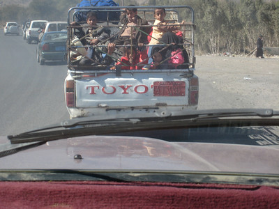 A ute full of kids, a common sight on the roads of Yemen.