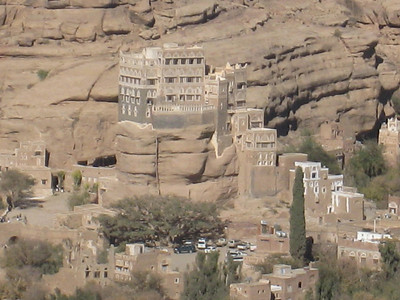 A close up of the Iman's Palace (Dar al-Hajjar) in Wadi Dhahr.