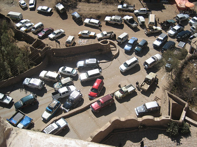 Looking down from Dar al-Hajjar at the traffic shambles below.