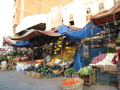 Fruit stalls in the souq area of Hodaida.