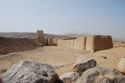 The old dam at Ma'rib on the left.  Built by the Sabaeans around 700BC, at its peak it was able to provide water for  70 sq km of desert and support a population of around 50,000 people.  kingdom was located in what is now the Aseer region in southwestern Yemen. The Sabaeans main source of income was from trading in frankincense and myrrh.