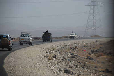 The Army escort leadng the convoy of 50 4x4s to Ma'rib.