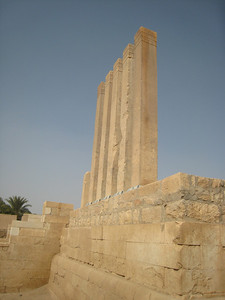 The 5 (and a half) pillars at the Temple of Bilqis.  Seven Spanish tourists and their two Yemeni guides were killed here in July 2007 when a suicide bomber drove a car loaded with explosives into their mini van.