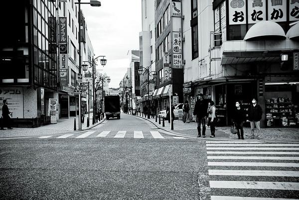 Main street in Yokosuka. It's known as the Blue Street.