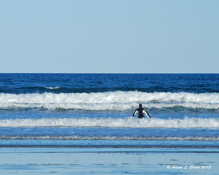 There were a few surfers that braved the cold water