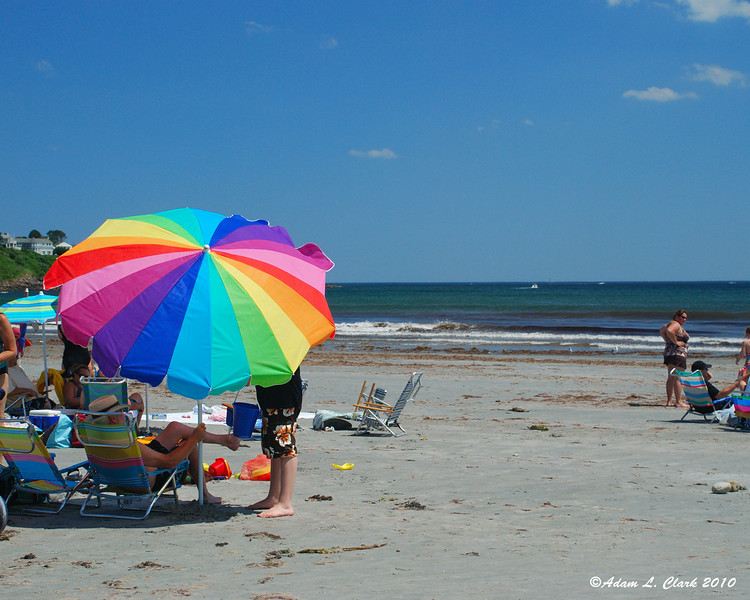 There were plenty of umbrellas on the back of the beach