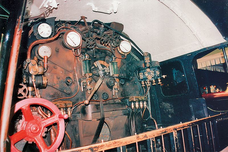 Inside the 925 locomotive National Railway Museum York England - Jun 1996