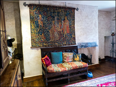 Fine tapestries adorn the walls