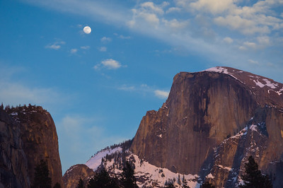 Moon Over Half Dome Sunset