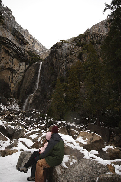 Janine and I admiring Lower Yosemite Falls.