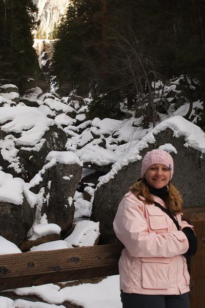 Janine at the Vernal Falls Footbridge.