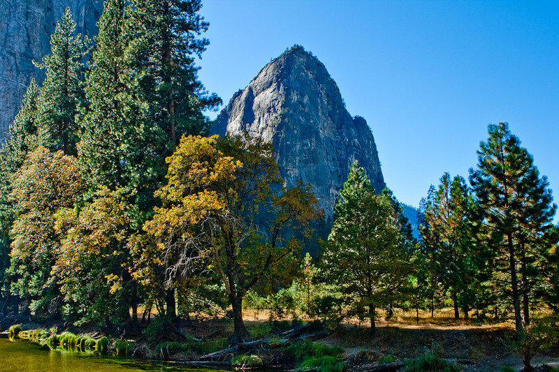The Merced river & one of the Cathedral Rocks (Lower) from El Capitan Bridge.