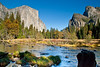 The gates of Yosemite Valley, formed by El Capitan on the left and Cathedral Rocks on the right. From a spot called Valley View.