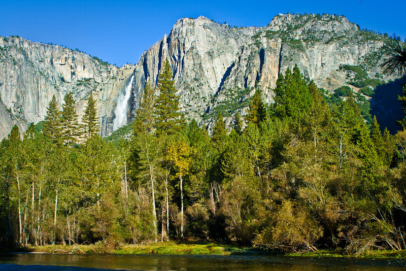 Upper Yosemite Falls from the beach at Housekeeping Camp.
