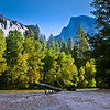 From the beach at Housekeeping Camp, looking upstream to Half Dome.