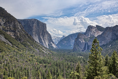 El Capitan, Half Dome, Sentinal Dome, Cathedral Spires & Bridal Veil Falls from Tunnel View