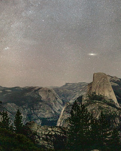 Double Cluster & Andromeda Galaxy Rising Over Half Dome