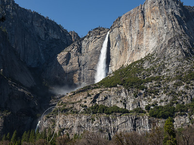 Upper and Lower Yosemite Falls fed by the heavy rain  that caused flooding the previous day