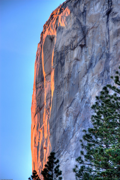 <h3>El Capitan</h3>This was taken just at sunset from the valley floor.  I took 3 exposures and combined them.  I found I quite liked the outcome for this one.