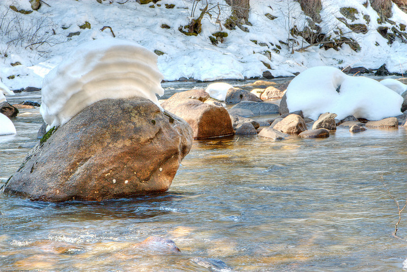 Louise and I enjoyed seeing the snow capped rocks in the Merced River.  This was taken near the bridge at the head of the valley.