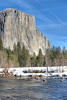 <h3>El Capitan</h3>A view of El Capitan with the Merced river in the foreground.