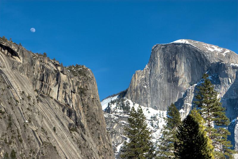 <h3>Half Dome</h3>A view of Half Dome from near Yosemite Village.
