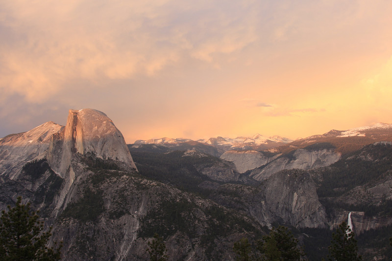 The sun was setting as I entered Yosemite, so I drove straight to Glacier Point for the view. Pictured are Half Dome, Cloud's Rest (left of HD), Nevada Falls, and Liberty Cap (rock structure to the left of Nevada Falls)