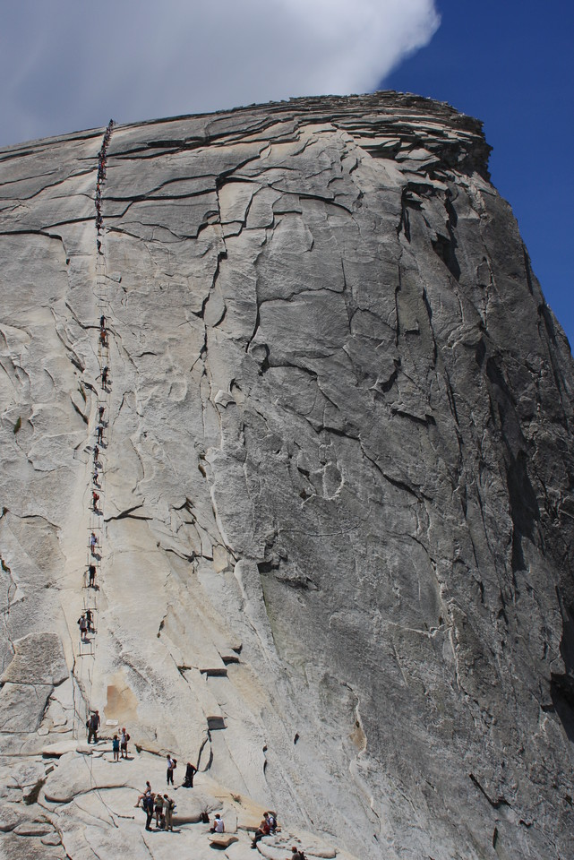 The Half Dome cables at about 12:30 on May 27.  Time to put the gloves on for the last 400 feet.