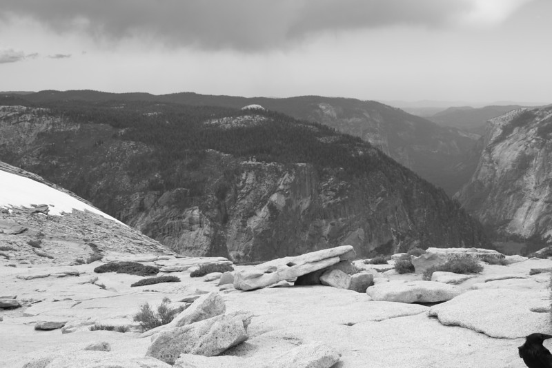 Looking at Glacier Point and El Capitan (right) from Half Dome