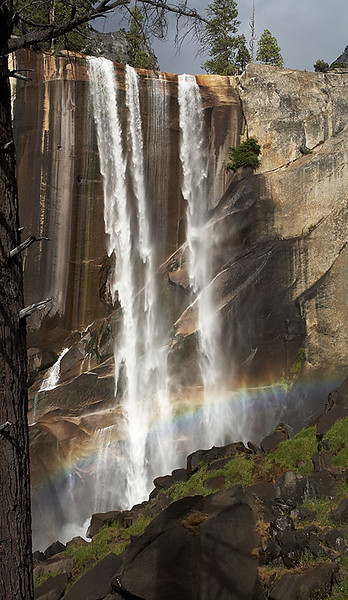 Vernal Falls. The dark stains on the rocks show how much wider the fall is in spring.