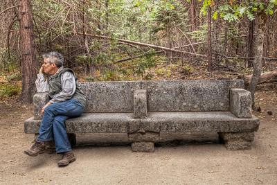 A stone bench in Yosemite NP.  Martha ... thinking