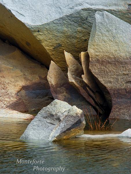 Fractured rock in Merced River, Yosemite National Park. California