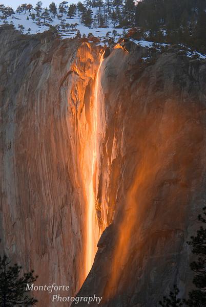 Horsetail Falls, Yosemite NP Ca. in winter.