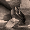 Fractured rock in Merced River in sepia tone, Yosemite NP.