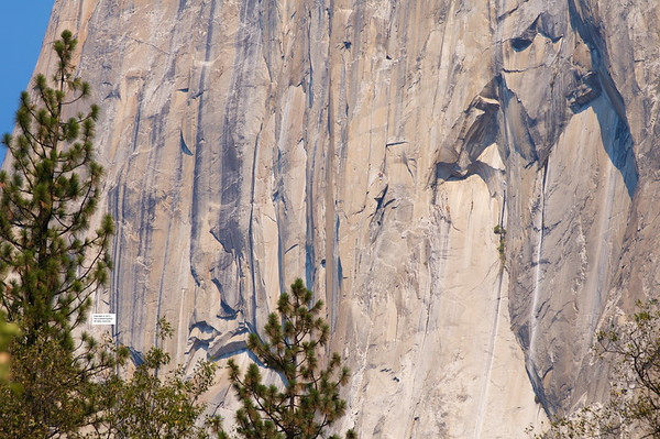 El Capitan being climbed.
