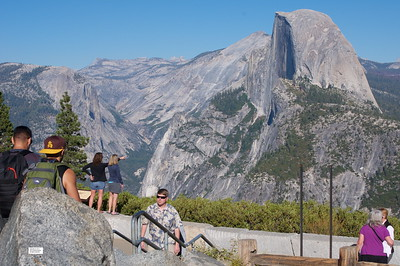 Tourists viewing Half Dome