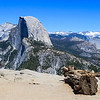 Petrified trees at Glacier Point with Half Dome in the distance in Yosemite National Park