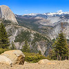 Half Dome and Yosemite Falls seen from Glacier Point in Yosmite National Park