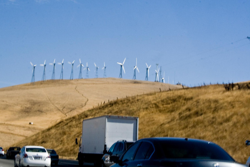 Traveling from San Francisco airport to Yosemite...The hills for almost as far as you could see were covered with these windmills.