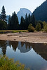 Yosemite National Park. Half Dome reflected in the Merced River.<br /> <br /> Photo by Dennis