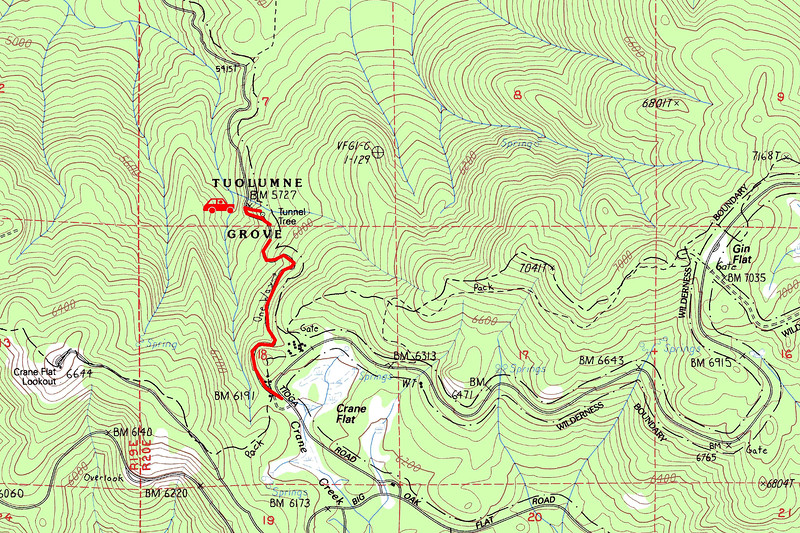 """Tuolumne Grove trip map. Left click on map then select """"Sizes -> Original"""" in bottom right corner of screen to view full size."""
