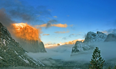 El Capitan, and Half Dome in the last light of the day.