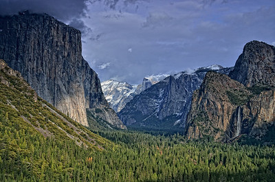 Half Dome and the Bridal Veil Falls from Wavona Tunnel