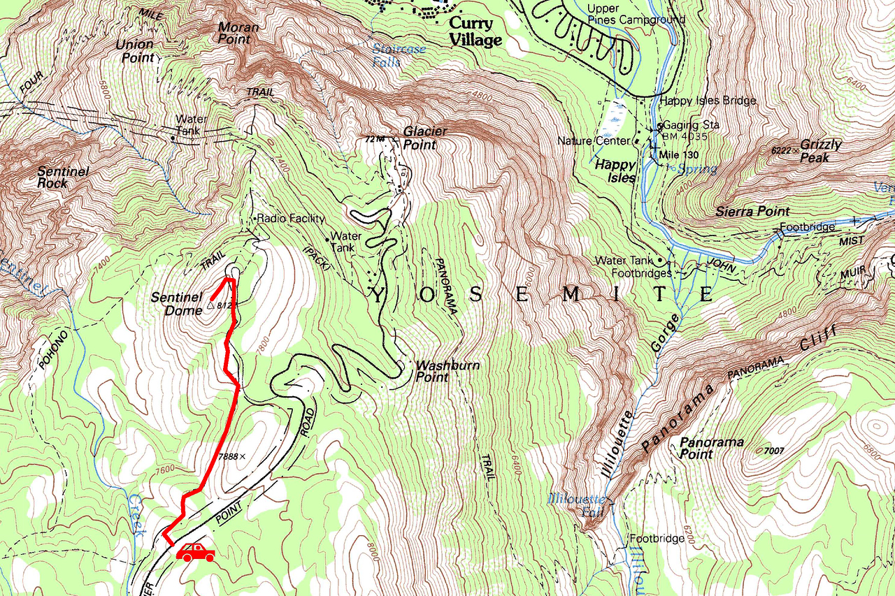 "Sentinel Dome trip map. Left click on map then select ""Sizes -> Original"" in bottom right corner of screen to view full size."