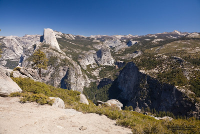 The view from Glacier Point, left to right: Tenaya Canyon, Half Dome, Liberty Cap, Little Yosemite Valley, Nevada Fall.  Yosemite National Park, California, U.S.A.