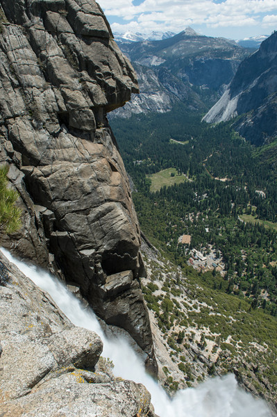 View of Yosemite falls and valley from the top.