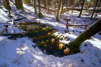Hot spring in cold weather