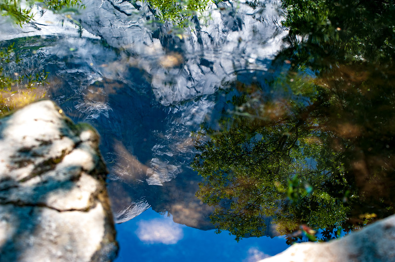 A closeup of Mirror Lake in Yosemite Valley.