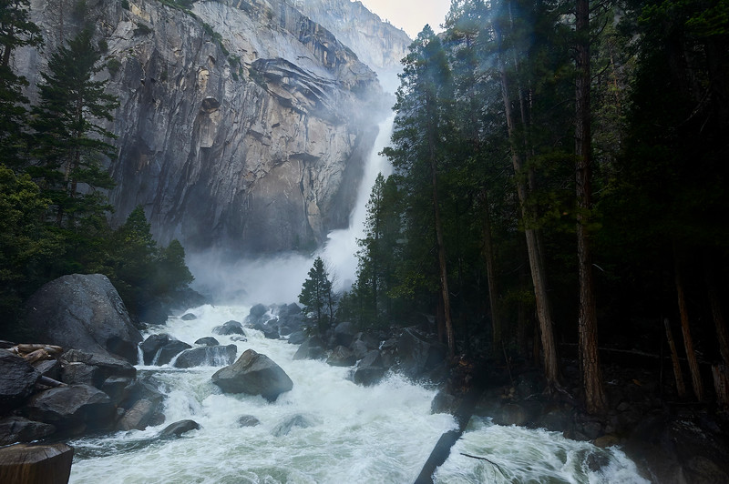 Lower Yosemite Falls, an experience that is felt as much as it is seen – its cold blast can be felt long before it's in sight.