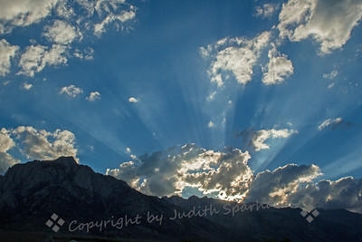 God Light Over the Sierras ~ Just returned from a July trip to the Eastern Sierra.  Despite two terrific thunderstorms, I greatly enjoyed shooting the resulting cloudy skies.  This view was not long before sunset over the Sierra peaks, from the Alabama Hills out of Lone Pine, California.